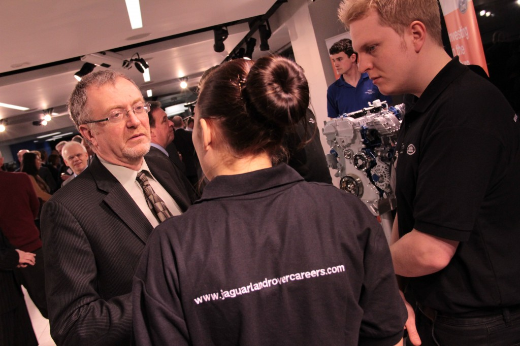 Richard with JLR apprentices - photo credit SMMT